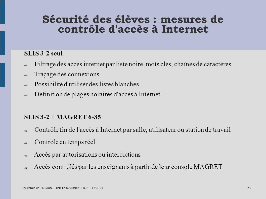 Sécurité des élèves : mesures de contrôle d accès à Internet