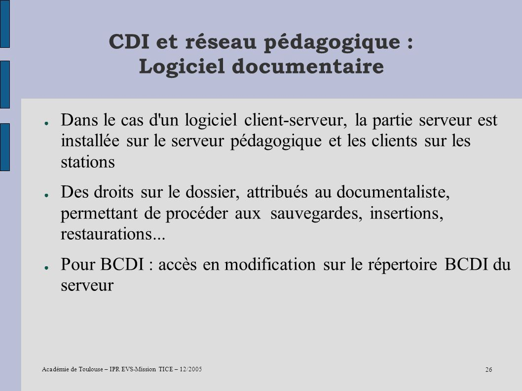 CDI et réseau pédagogique : Logiciel documentaire