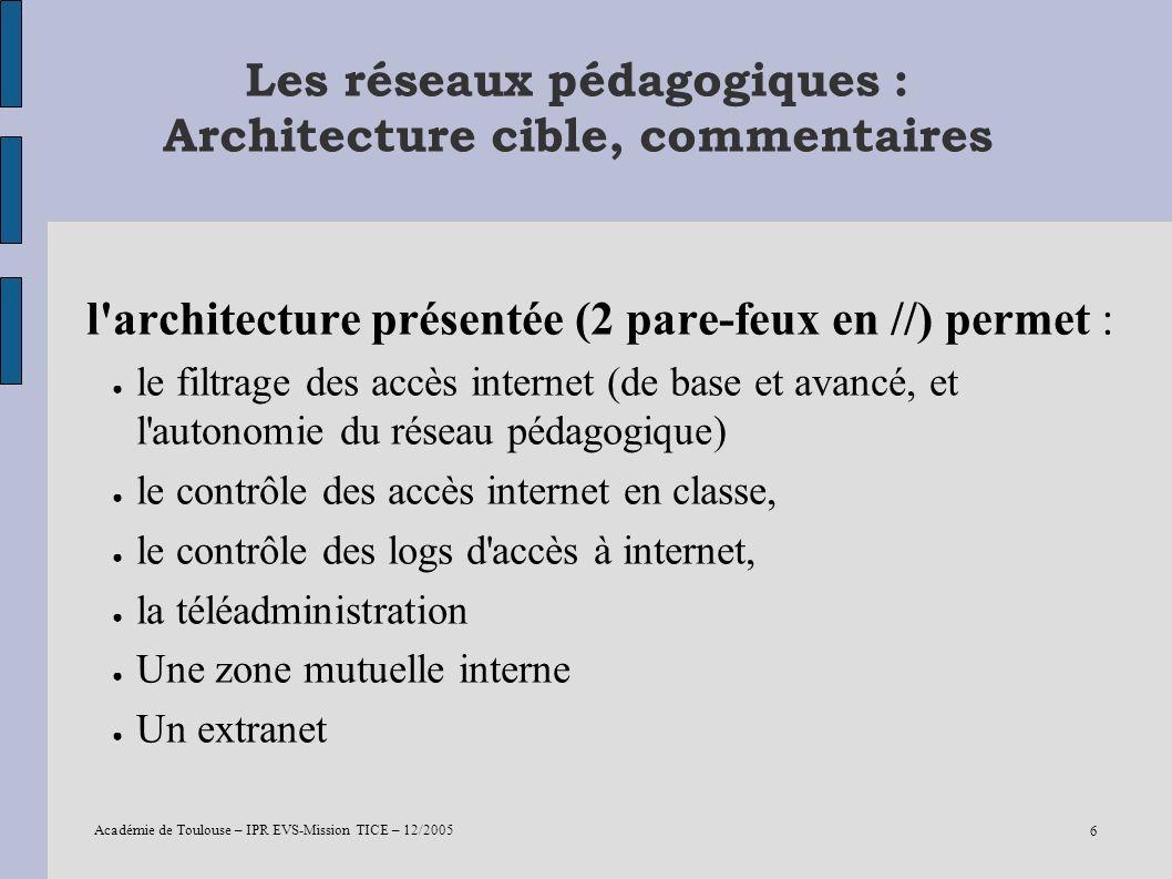 Les réseaux pédagogiques : Architecture cible, commentaires