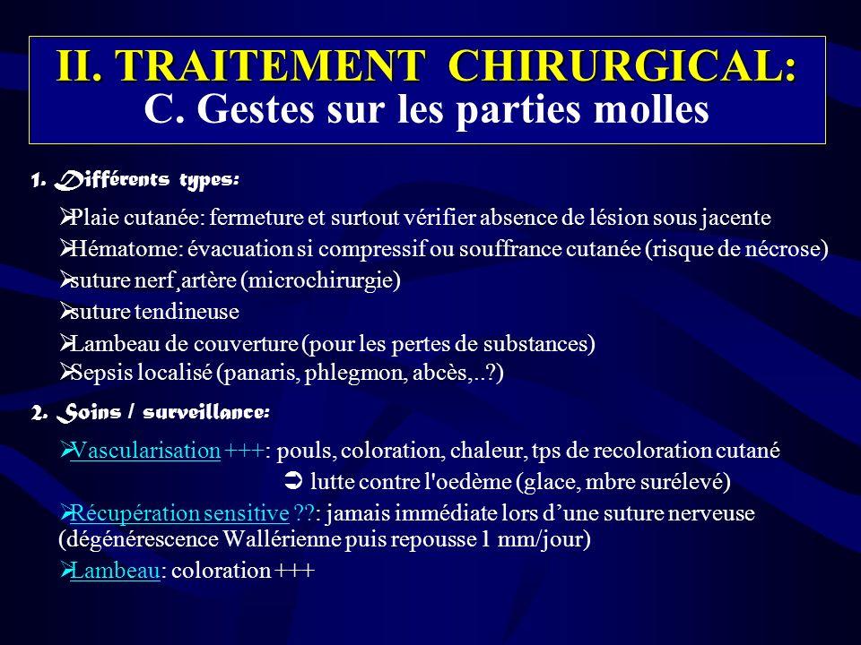 II. TRAITEMENT CHIRURGICAL: C. Gestes sur les parties molles