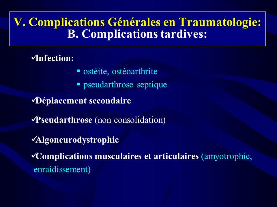 V. Complications Générales en Traumatologie: B. Complications tardives: