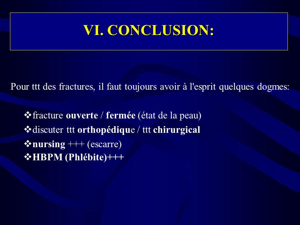 VI. CONCLUSION:Pour ttt des fractures, il faut toujours avoir à l esprit quelques dogmes: fracture ouverte / fermée (état de la peau)