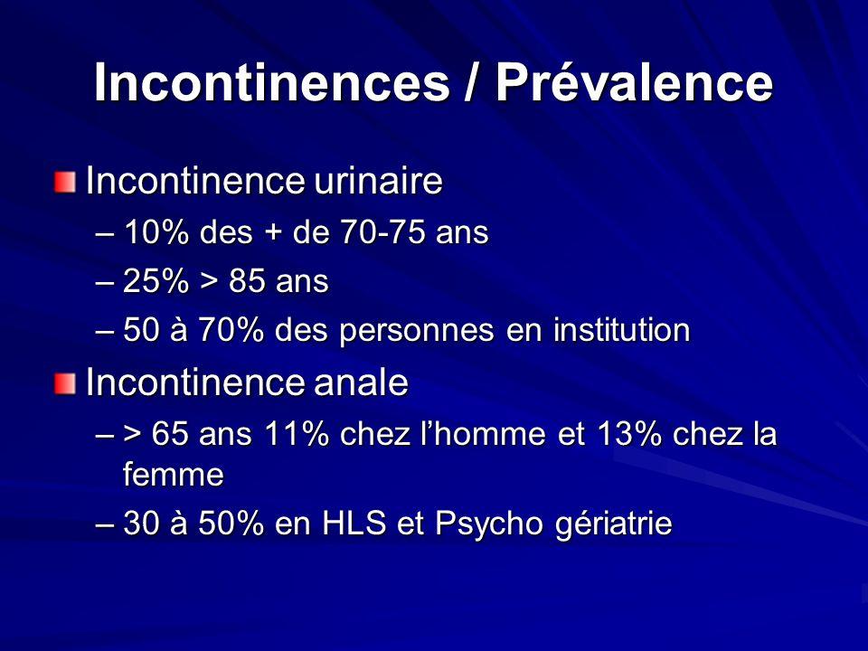 Incontinences / Prévalence