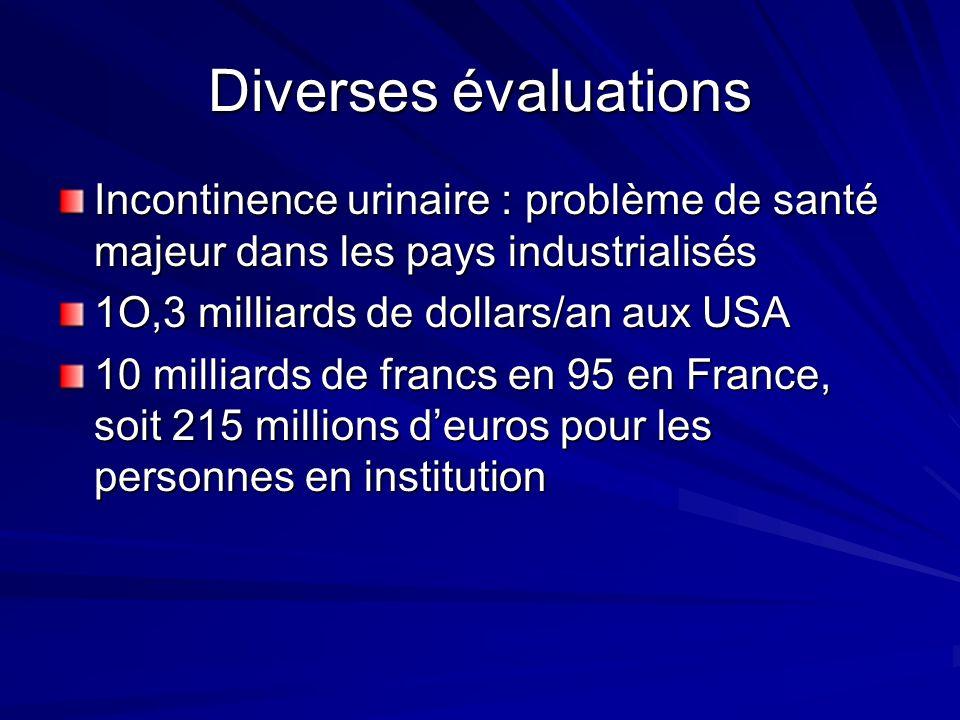 Diverses évaluations Incontinence urinaire : problème de santé majeur dans les pays industrialisés.