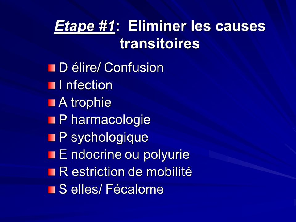 Etape #1: Eliminer les causes transitoires