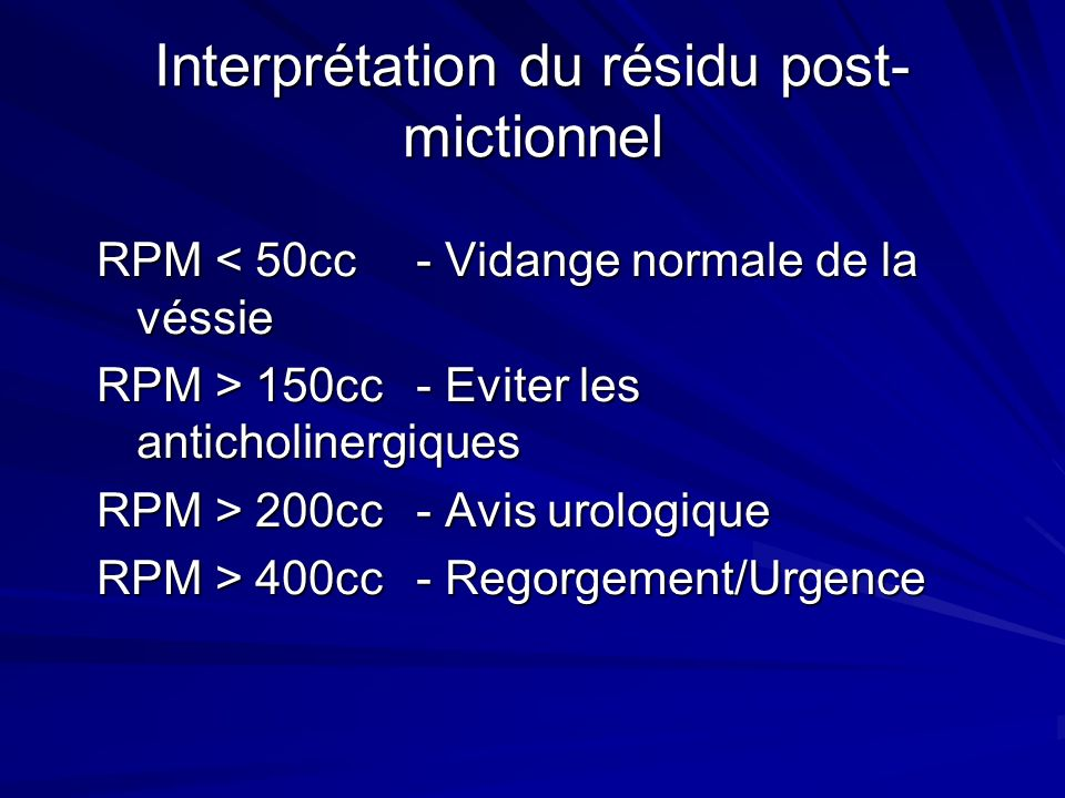 Interprétation du résidu post-mictionnel