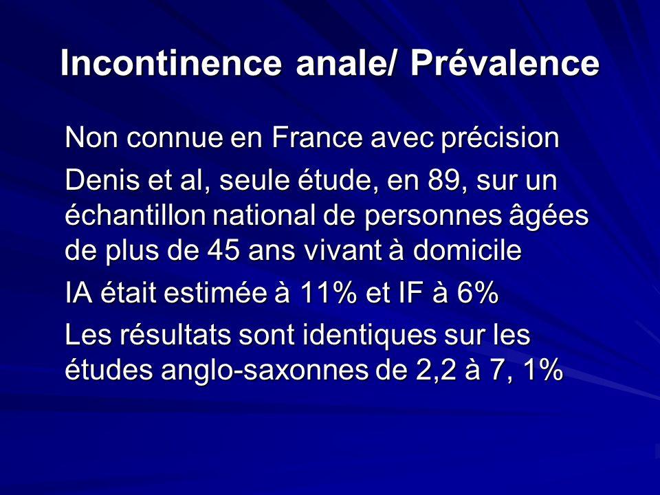 Incontinence anale/ Prévalence