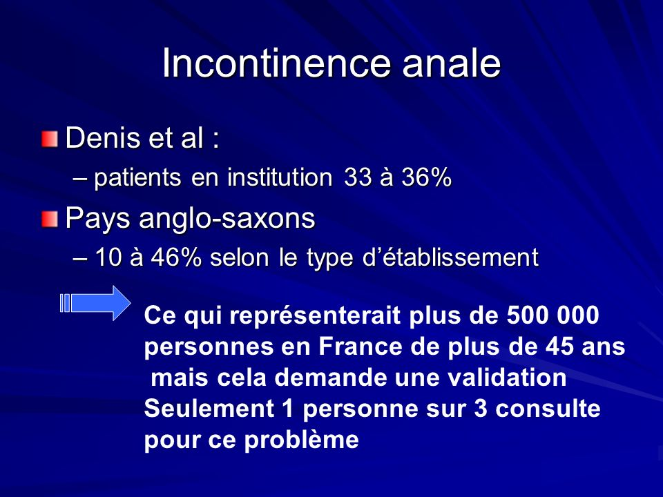 Incontinence anale Denis et al : Pays anglo-saxons