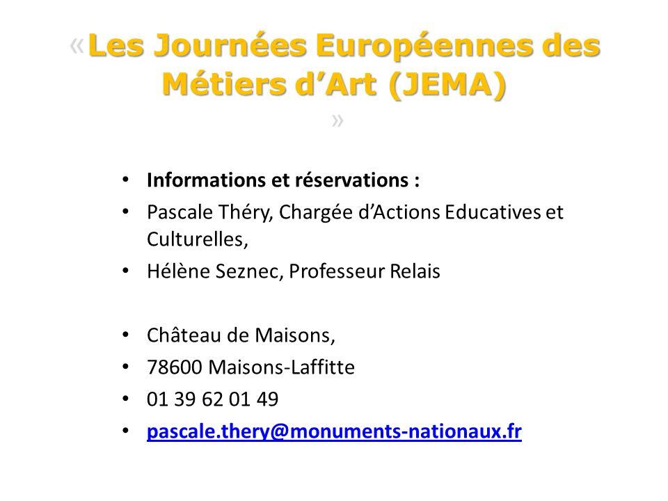 «Les Journées Européennes des Métiers d'Art (JEMA) »