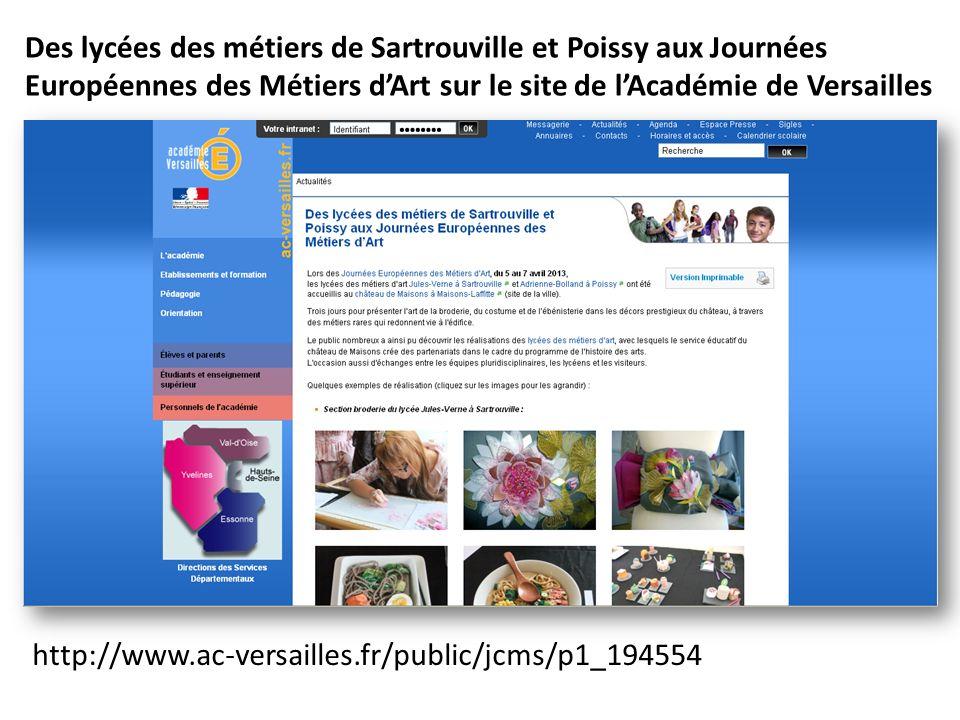 Des lycées des métiers de Sartrouville et Poissy aux Journées Européennes des Métiers d'Art sur le site de l'Académie de Versailles