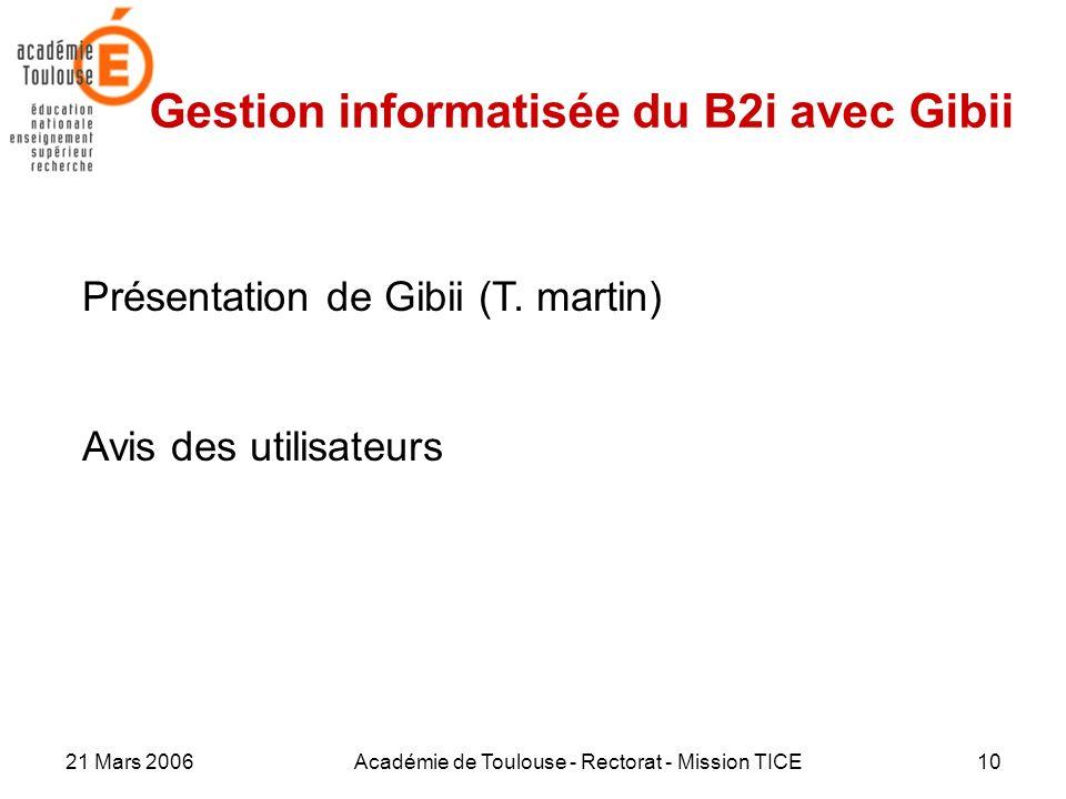 Gestion informatisée du B2i avec Gibii
