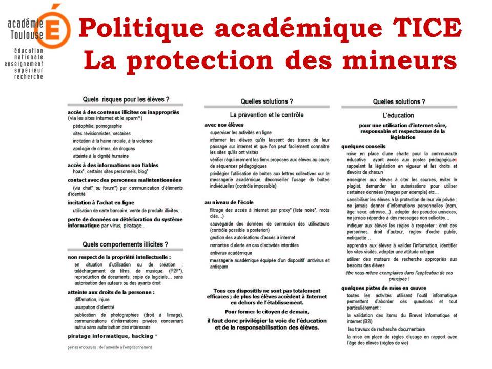 Politique académique TICE La protection des mineurs