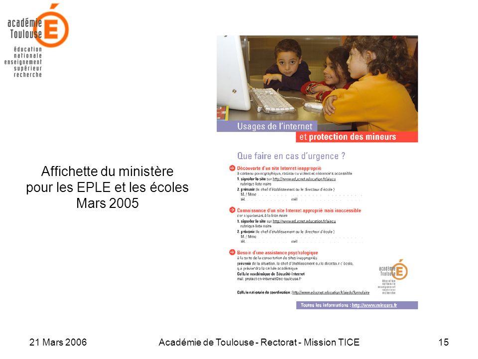 Affichette du ministère pour les EPLE et les écoles Mars 2005