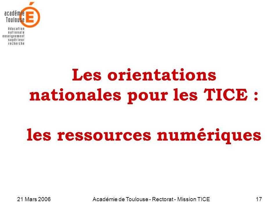 Les orientations nationales pour les TICE : les ressources numériques