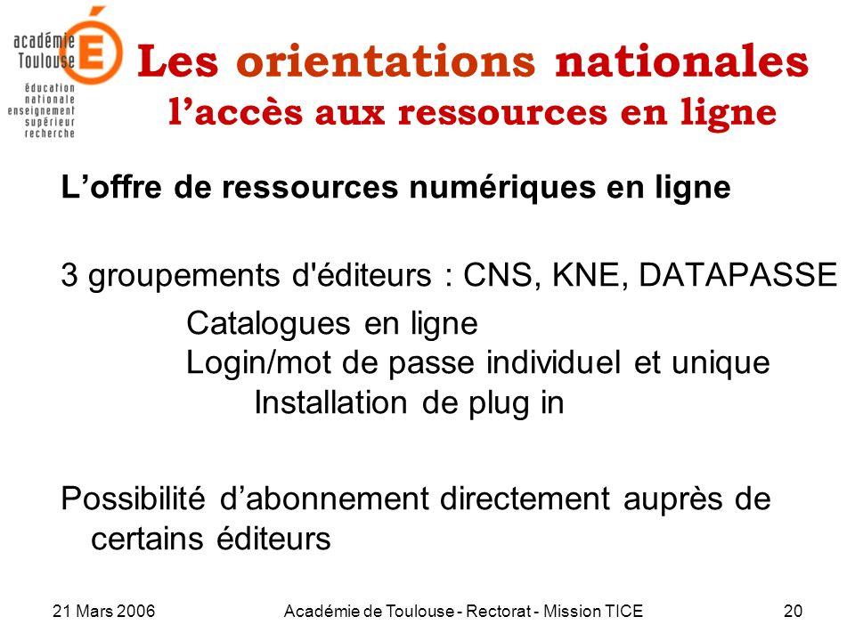 Les orientations nationales l'accès aux ressources en ligne