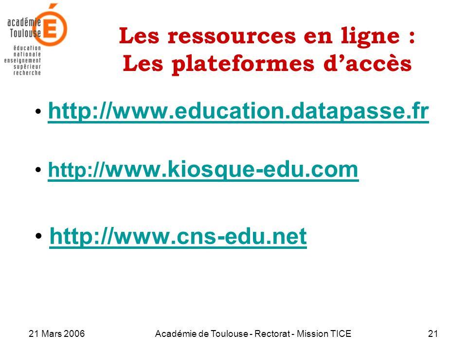 Les ressources en ligne : Les plateformes d'accès
