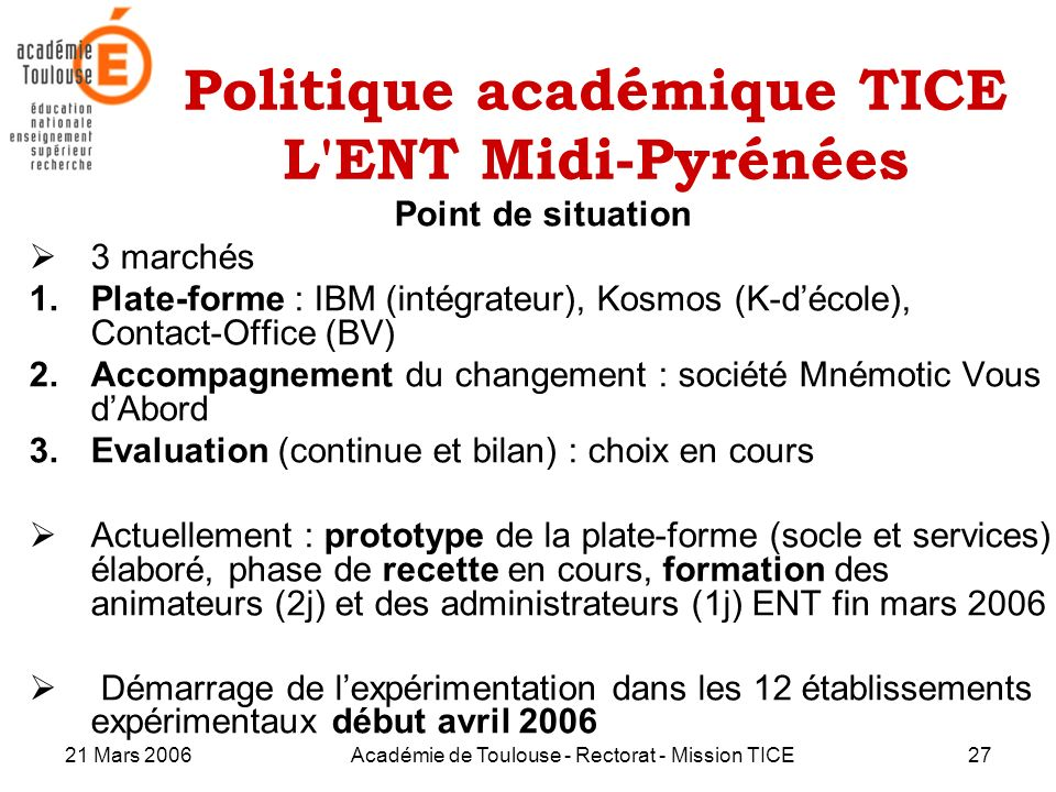Politique académique TICE L ENT Midi-Pyrénées
