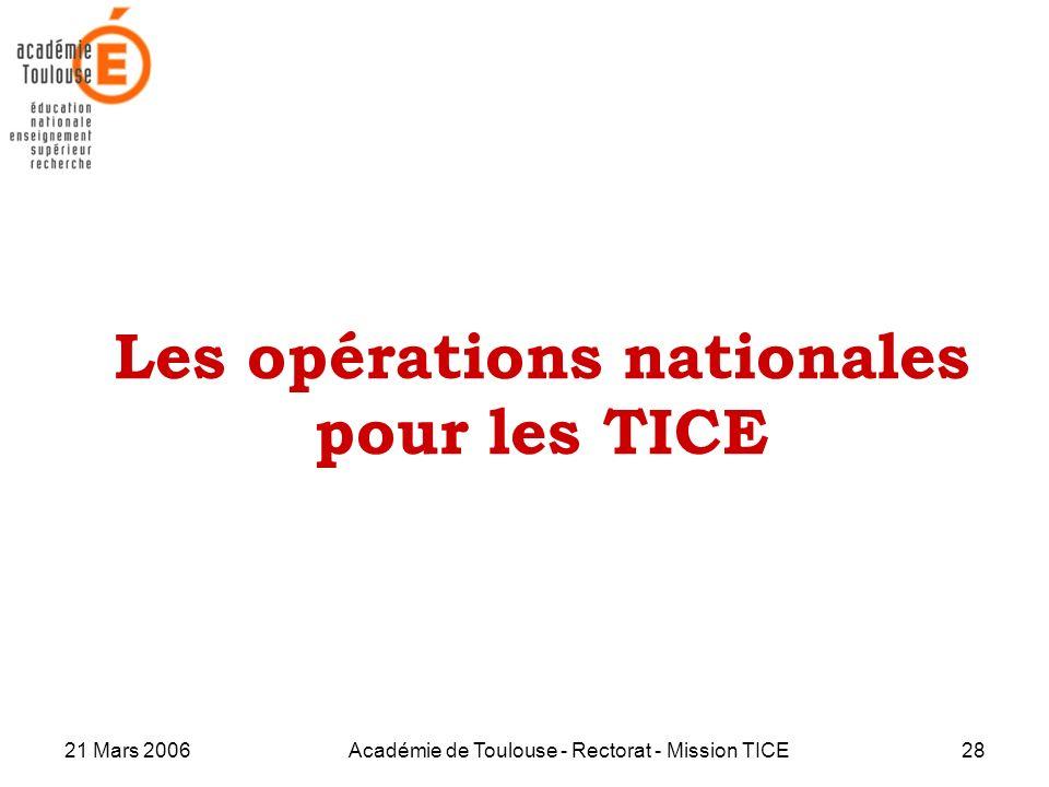 Les opérations nationales pour les TICE