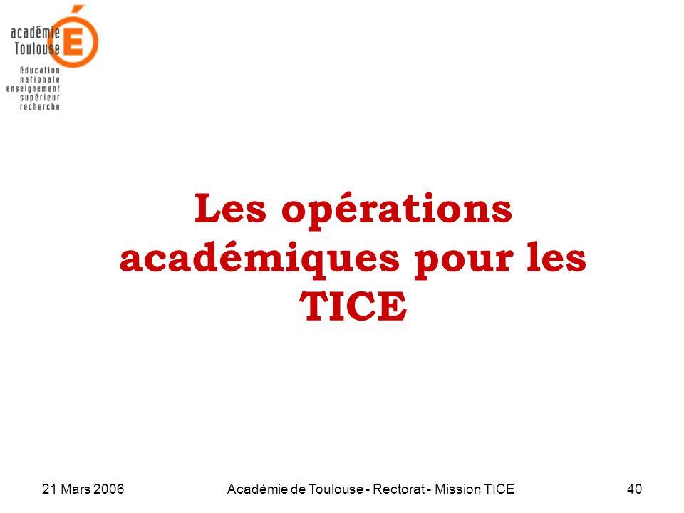 Les opérations académiques pour les TICE