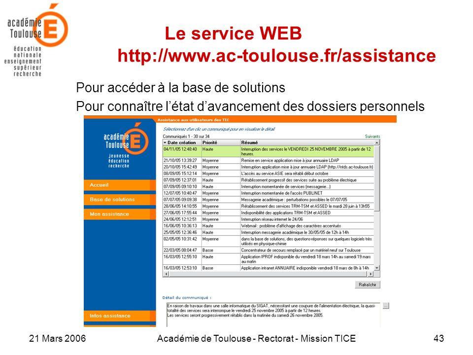 Le service WEB http://www.ac-toulouse.fr/assistance