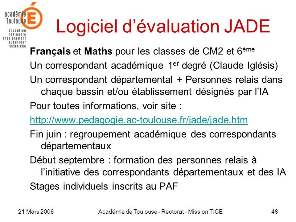 Logiciel d'évaluation JADE