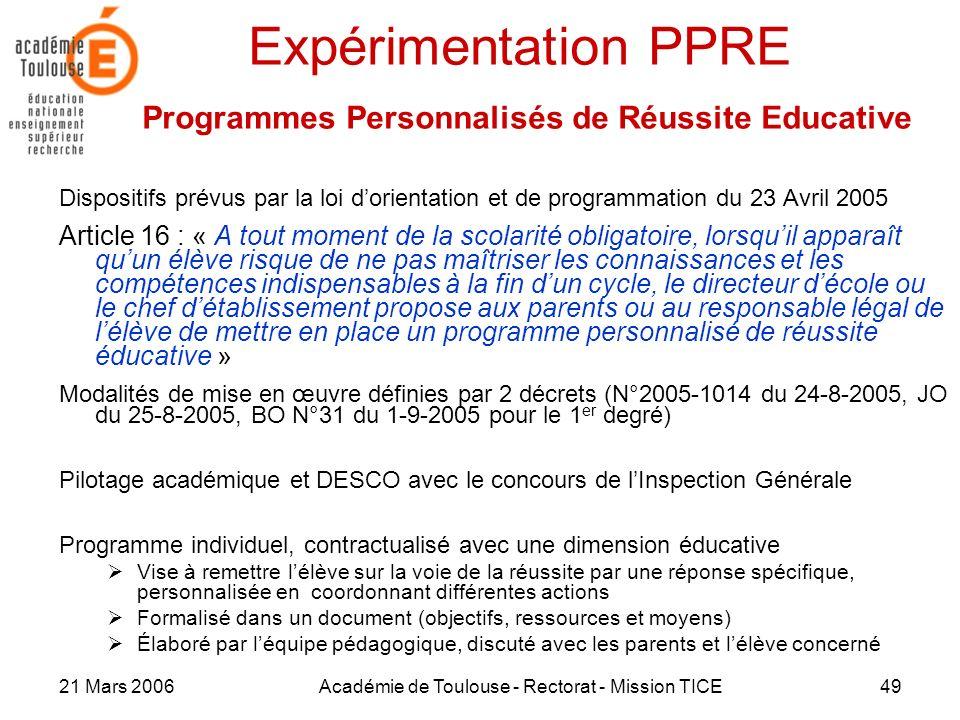 Expérimentation PPRE Programmes Personnalisés de Réussite Educative