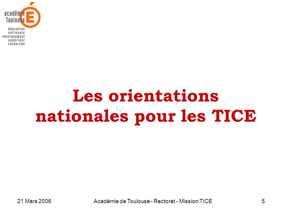 Les orientations nationales pour les TICE