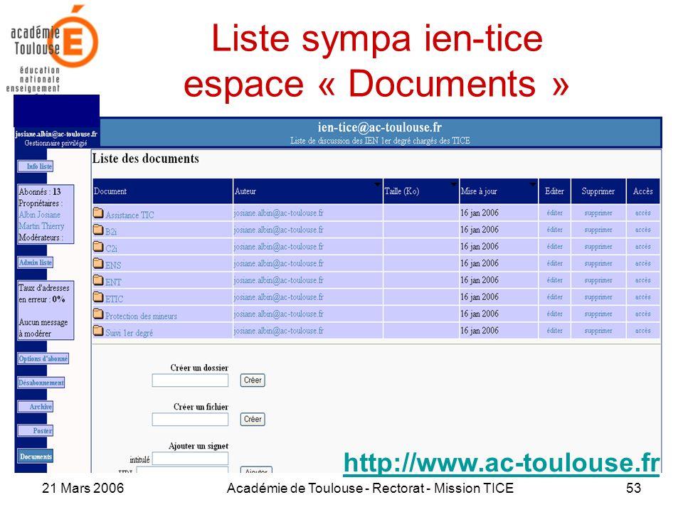 Liste sympa ien-tice espace « Documents »