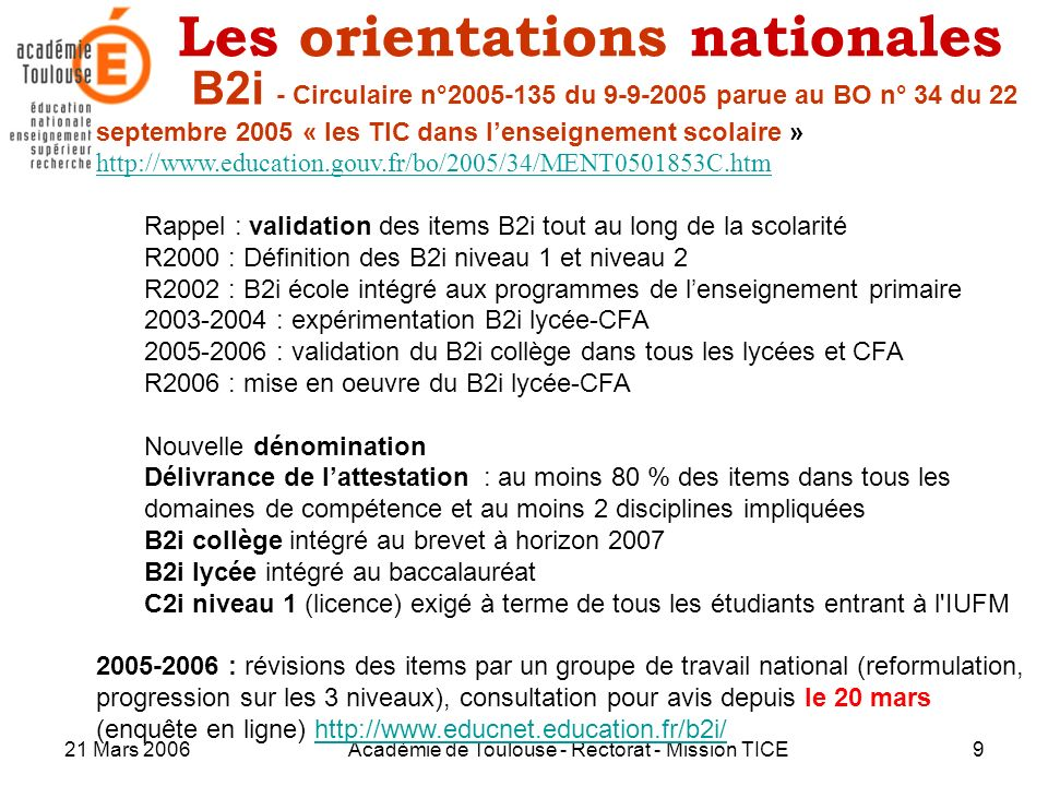 Les orientations nationales