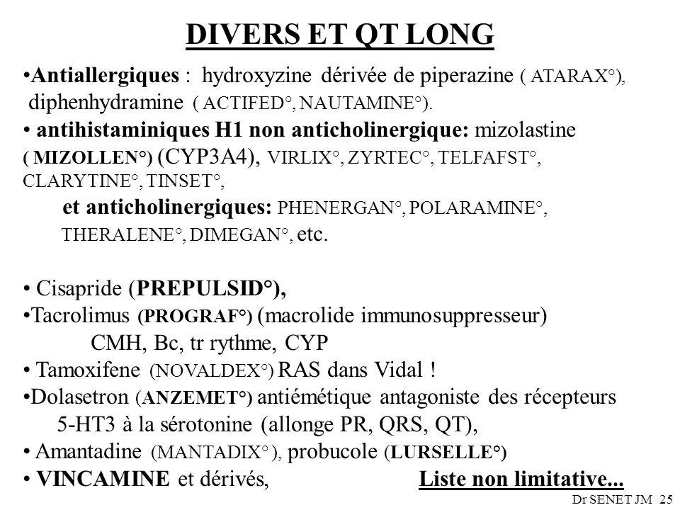 DIVERS ET QT LONGAntiallergiques : hydroxyzine dérivée de piperazine ( ATARAX°), diphenhydramine ( ACTIFED°, NAUTAMINE°).
