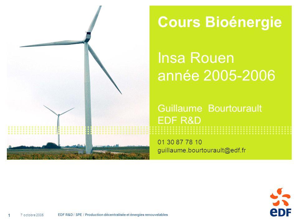 Cours Bioénergie Insa Rouen année 2005-2006 Guillaume Bourtourault EDF R&D 01 30 87 78 10 guillaume.bourtourault@edf.fr
