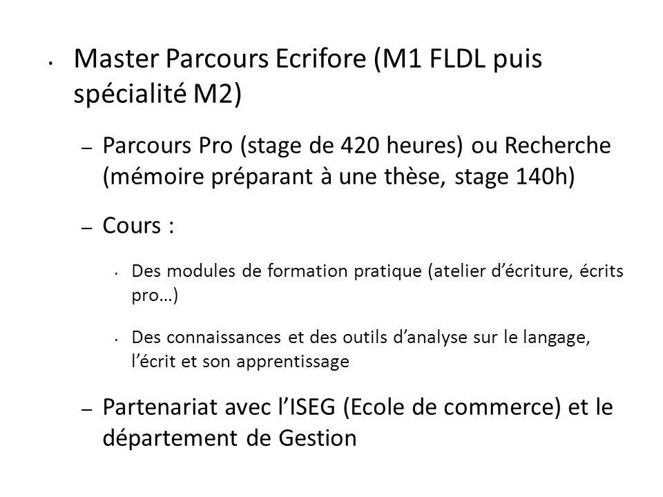 Master Parcours Ecrifore (M1 FLDL puis spécialité M2)