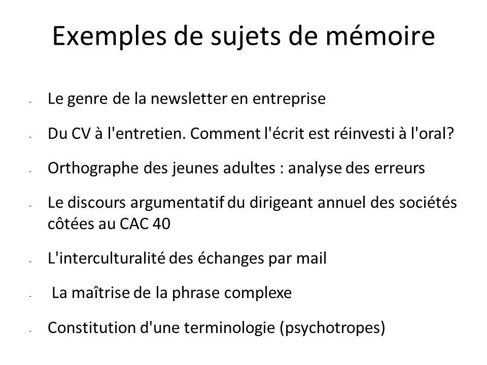 Exemples de sujets de mémoire