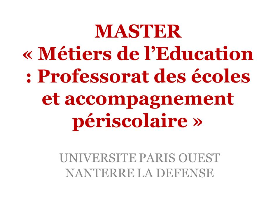 UNIVERSITE PARIS OUEST NANTERRE LA DEFENSE