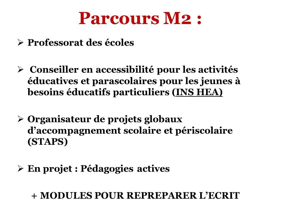 Parcours M2 : Professorat des écoles