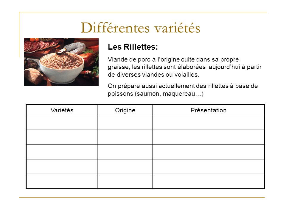 Différentes variétés Les Rillettes: