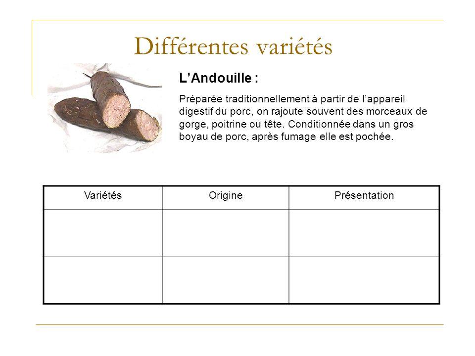Différentes variétés L'Andouille :