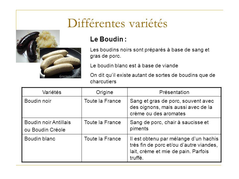 Différentes variétés Le Boudin :