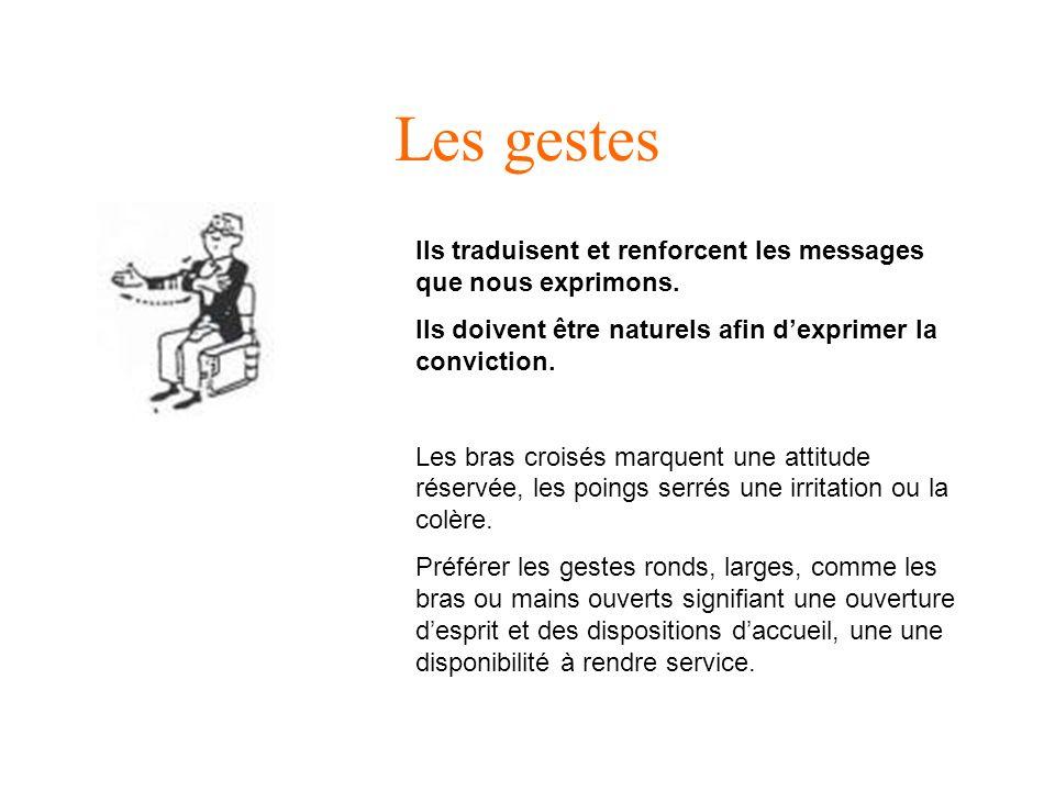 Les gestes Ils traduisent et renforcent les messages que nous exprimons. Ils doivent être naturels afin d'exprimer la conviction.