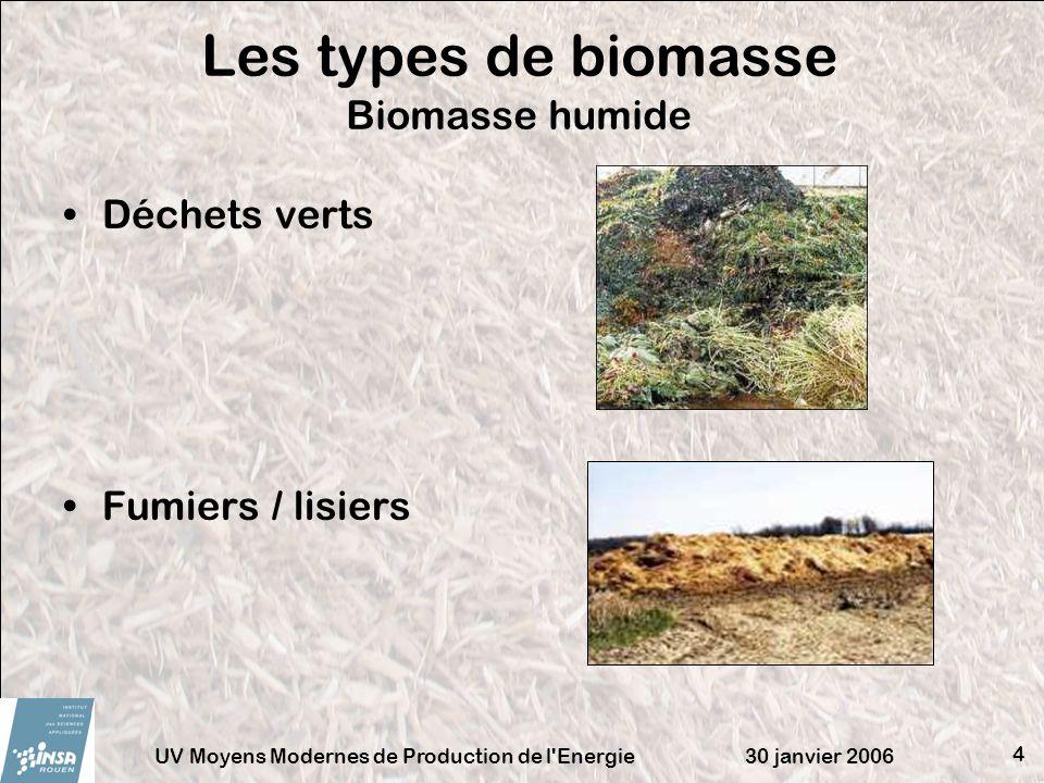 Les types de biomasse Biomasse humide