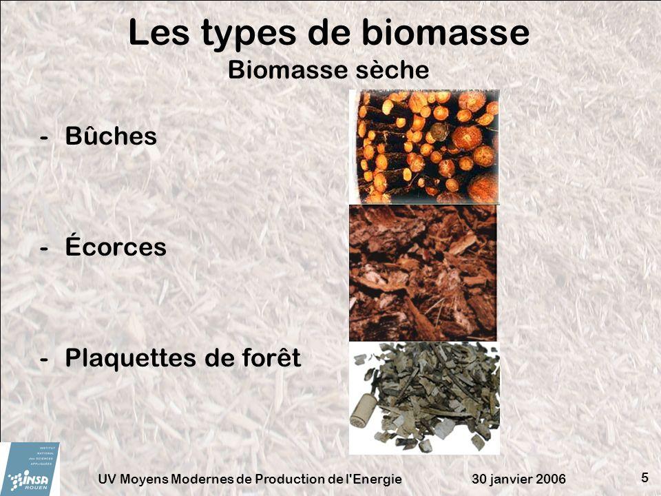 Les types de biomasse Biomasse sèche