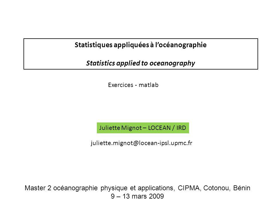 Statistiques appliquées à l'océanographie
