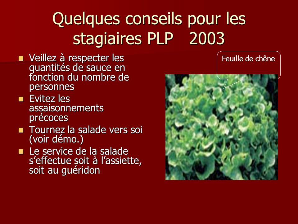 Quelques conseils pour les stagiaires PLP 2003