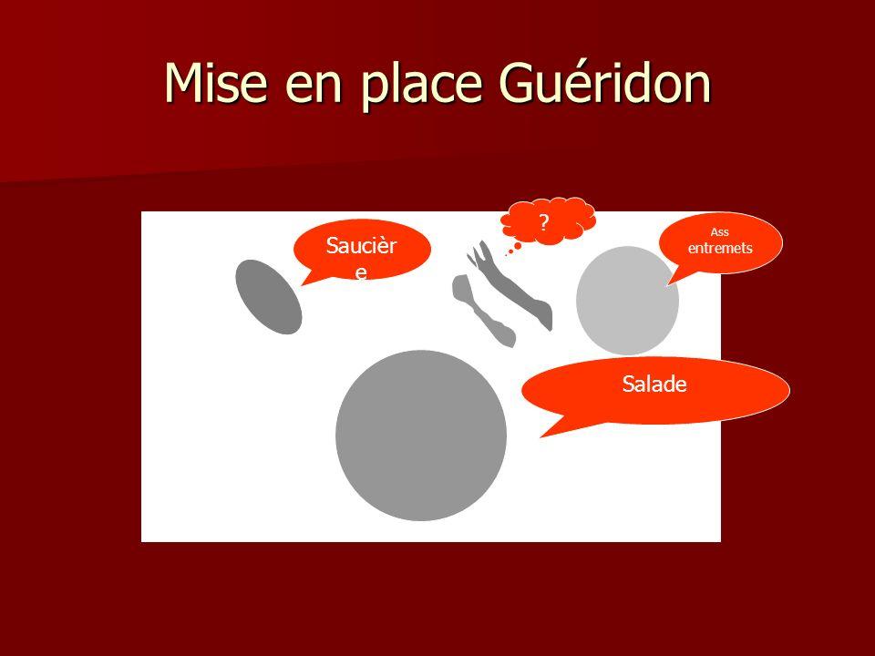 Mise en place Guéridon Ass entremets Saucière Salade