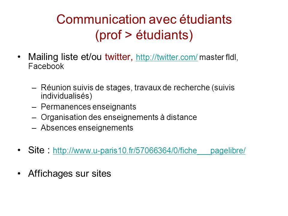 Communication avec étudiants (prof > étudiants)