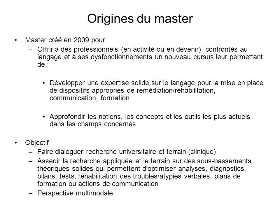 Origines du master Master créé en 2009 pour