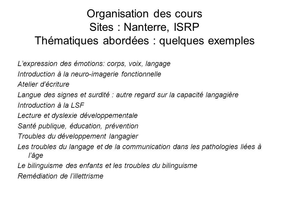 Organisation des cours Sites : Nanterre, ISRP Thématiques abordées : quelques exemples