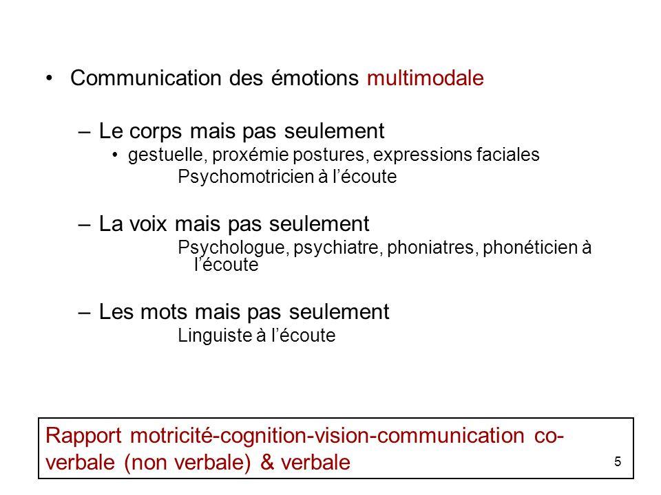 Communication des émotions multimodale Le corps mais pas seulement