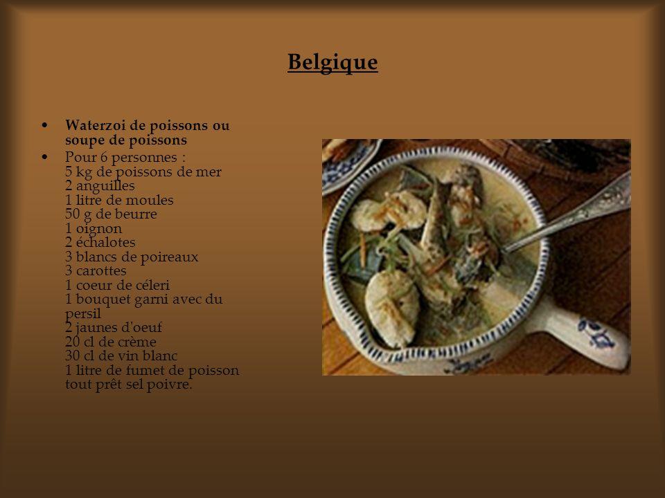 Belgique Waterzoi de poissons ou soupe de poissons