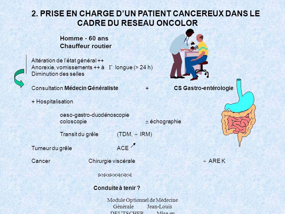 2. PRISE EN CHARGE D'UN PATIENT CANCEREUX DANS LE